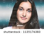 facial recognition system...   Shutterstock . vector #1135176383