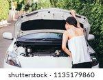 asian woman checking her broken ...   Shutterstock . vector #1135179860