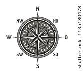 compass icon in retro vintage... | Shutterstock .eps vector #1135180478