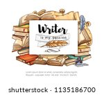 old paper book sketch with... | Shutterstock .eps vector #1135186700