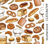 bread and pastry food seamless...   Shutterstock .eps vector #1135186709