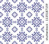 ceramic pattern  blue and white ... | Shutterstock .eps vector #1135187159
