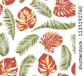 summer exotic floral tropical... | Shutterstock .eps vector #1135192760