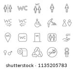 set of wc related vector line... | Shutterstock .eps vector #1135205783