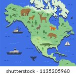 stylized map of north america... | Shutterstock .eps vector #1135205960