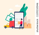 shipping  relocation. flat... | Shutterstock .eps vector #1135210346