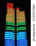 Small photo of BRUSSELS, BELGIUM-AUGUST 15: Night illumination of 137 m Dexia Tower on August 15, 2008 in Brussels, Belgium. It has 4200 windows with light bulbs equipped with 3 colors leds to display light patterns