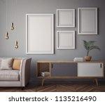 living room interior wall mock... | Shutterstock . vector #1135216490