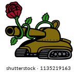 war tank to which a rose grows... | Shutterstock .eps vector #1135219163