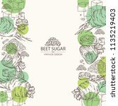 background with beet sugar ... | Shutterstock .eps vector #1135219403