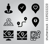 simple 9 icon set of location... | Shutterstock .eps vector #1135222223