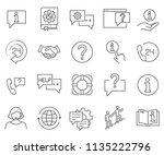set of help related vector line ... | Shutterstock .eps vector #1135222796