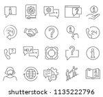 set of help related vector line ... | Shutterstock .eps vector #1135222796