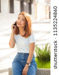 summer portrait of beautiful... | Shutterstock . vector #1135224860