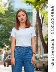 summer portrait of beautiful... | Shutterstock . vector #1135224866