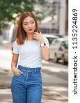 summer portrait of beautiful... | Shutterstock . vector #1135224869