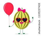 cute watermelon cartoon... | Shutterstock .eps vector #1135237433