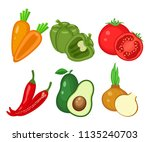 set of different vegetables ... | Shutterstock .eps vector #1135240703