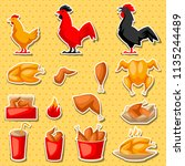fast food fried chicken meat.... | Shutterstock .eps vector #1135244489
