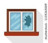 window broken  isolated on... | Shutterstock .eps vector #1135265009
