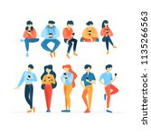 set of people using mobile... | Shutterstock .eps vector #1135266563