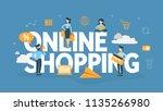 online shopping concept. buying ... | Shutterstock .eps vector #1135266980
