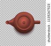 chinese brown teapot. top view. ... | Shutterstock .eps vector #1135267523