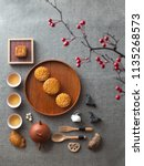 flat lay mid autumn festival... | Shutterstock . vector #1135268573
