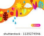 autumn background with colorful ... | Shutterstock .eps vector #1135274546