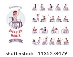 female young special wheelchair ... | Shutterstock .eps vector #1135278479