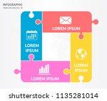 infographic jigsaw template 4... | Shutterstock .eps vector #1135281014