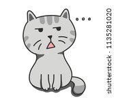 cat in a bad mood  doodle flat... | Shutterstock .eps vector #1135281020