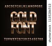 beveled gold alphabet font.... | Shutterstock .eps vector #1135286513