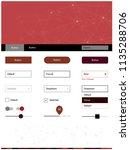 dark red vector ui ux kit in...