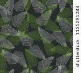 vector leaf seamless pattern....   Shutterstock .eps vector #1135291283