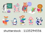 back to school animals hand... | Shutterstock .eps vector #1135294556