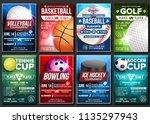sport poster vector. soccer ... | Shutterstock .eps vector #1135297943