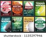 sport poster set vector. ice... | Shutterstock .eps vector #1135297946