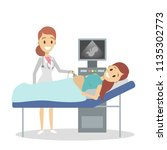 pregnant woman visiting female... | Shutterstock .eps vector #1135302773