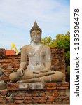 wat yai chai mongkhol in... | Shutterstock . vector #1135306478