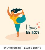 body positive. happy plus size...   Shutterstock .eps vector #1135310549