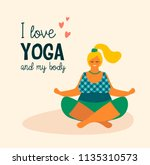 body positive. happy plus size... | Shutterstock .eps vector #1135310573