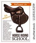 horse riding school vector hand ... | Shutterstock .eps vector #1135315259