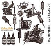 vector hand drawn tattoo studio ... | Shutterstock .eps vector #1135315304