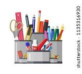 pen holder office equipment.... | Shutterstock .eps vector #1135316930