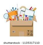 office accessories in cardboard ... | Shutterstock .eps vector #1135317110