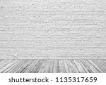 old white brick wall and wood... | Shutterstock . vector #1135317659