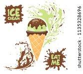 horn of pistachio ice cream... | Shutterstock .eps vector #1135328696