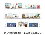 school classrooms set.... | Shutterstock .eps vector #1135333670