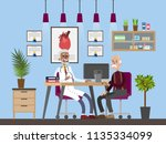 old man visiting male doctor in ... | Shutterstock .eps vector #1135334099